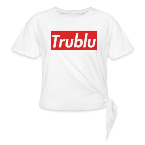 Trublu Red Box Logo(Big) - Women's Knotted T-Shirt