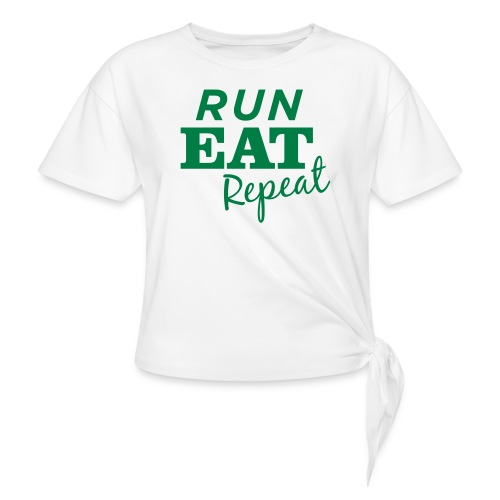 Run Eat Repeat buttons medium - Women's Knotted T-Shirt