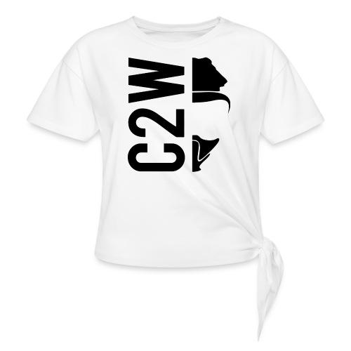 C2W Split Logo - Black - Premium Tee - Women's Knotted T-Shirt