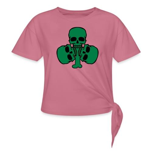 Skull Shamrock w/ Teeth - Women's Knotted T-Shirt