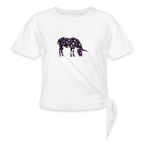Unicorn Hearts purple - Women's Knotted T-Shirt