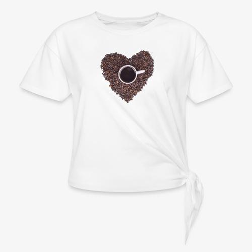 I Heart Coffee Black/White Mug - Women's Knotted T-Shirt