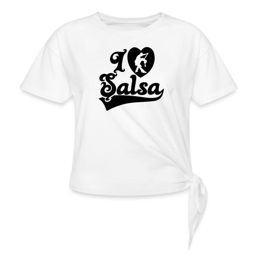 I Love Salsa Dancing T-Shirt Design - Women's Knotted T-Shirt