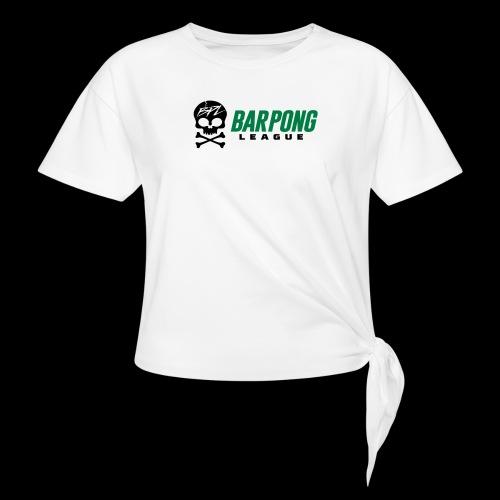 Bar Pong League Wide Logo - Women's Knotted T-Shirt