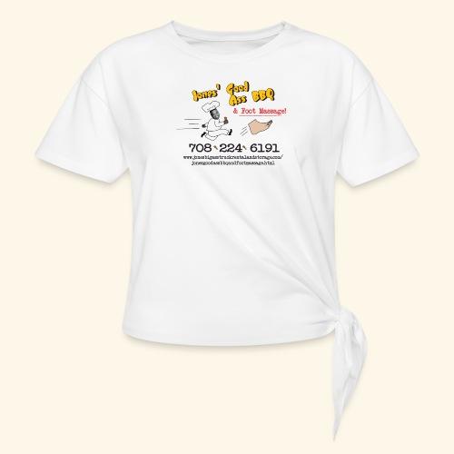 Jones Good Ass BBQ and Foot Massage logo - Women's Knotted T-Shirt
