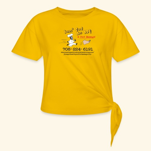 Jones Good Ass BBQ and Foot Massage logo - Women's Knotted T-Shirt