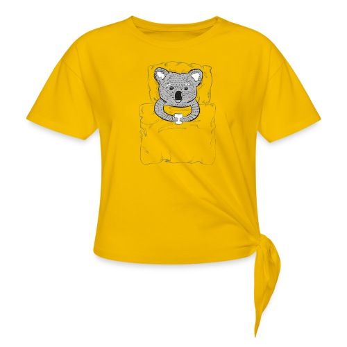 Print With Koala Lying In A Bed - Women's Knotted T-Shirt