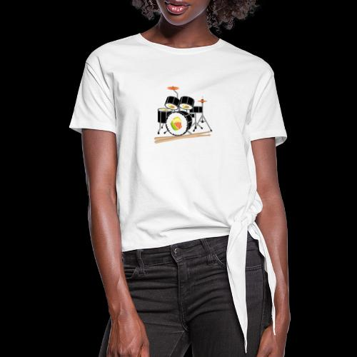 Sushi Roll Drum Set - Women's Knotted T-Shirt