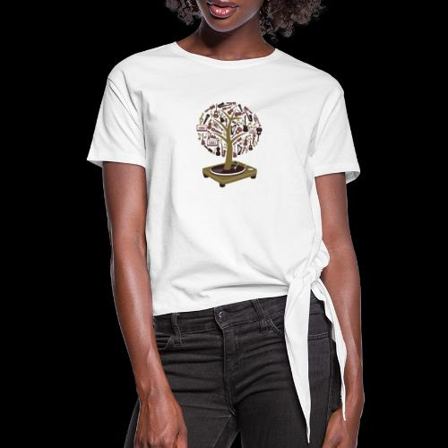 Turntable Tree of Music - Women's Knotted T-Shirt