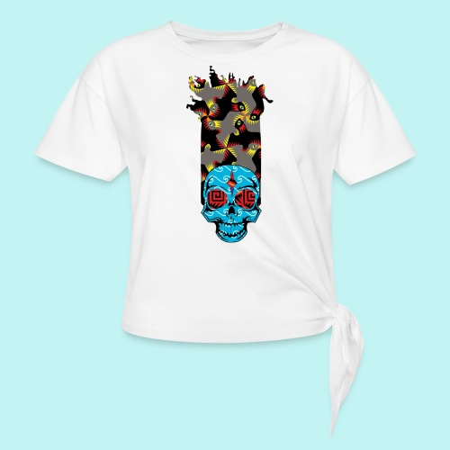 90s KID SKULLY - Women's Knotted T-Shirt