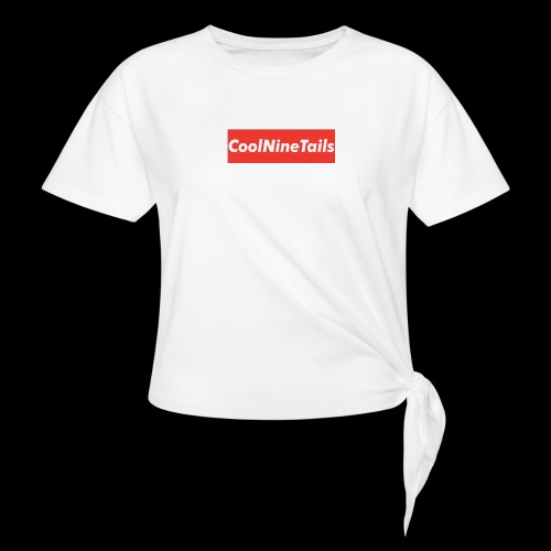 CoolNineTails supreme logo - Women's Knotted T-Shirt