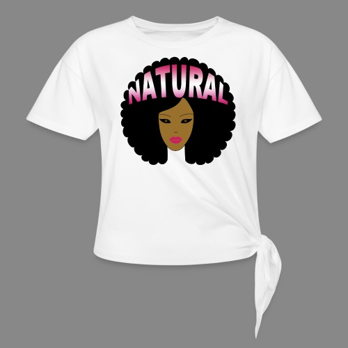 Natural Afro (Pink) - Women's Knotted T-Shirt
