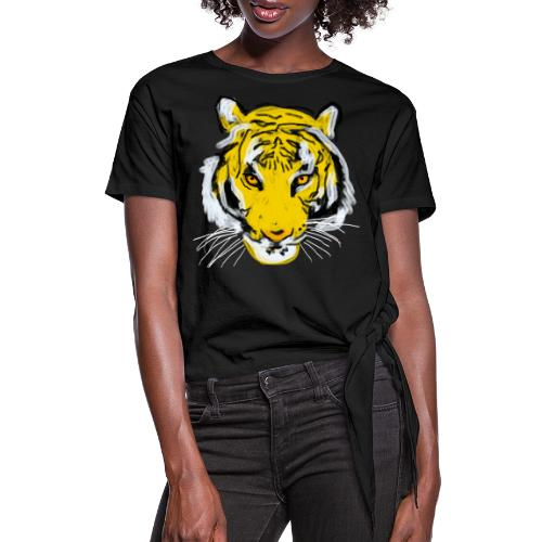 Tiger head - Women's Knotted T-Shirt