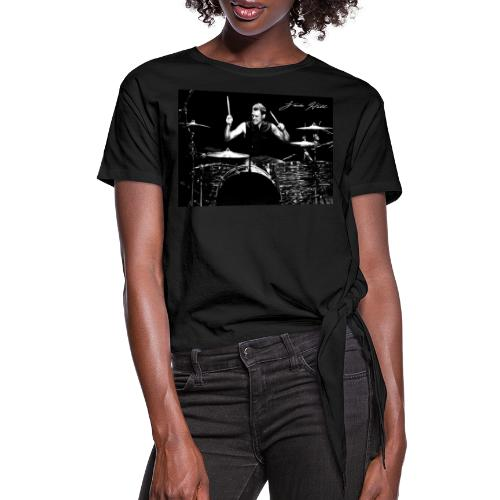 Landon Hall On Drums - Women's Knotted T-Shirt