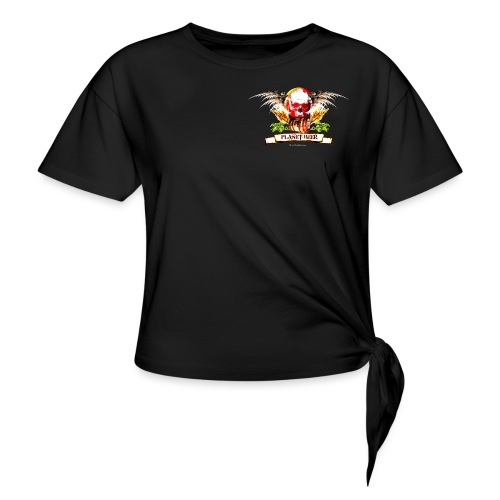 Planet Beer Skull & Keg Gothic Color - Women's Knotted T-Shirt