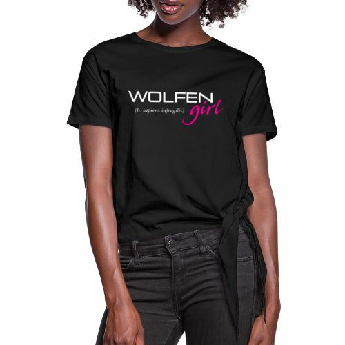 Front/Back: Wolfen Girl on Dark - Adapt or Die - Women's Knotted T-Shirt