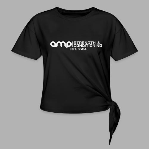 AMP Long Logo EST WHT - Women's Knotted T-Shirt