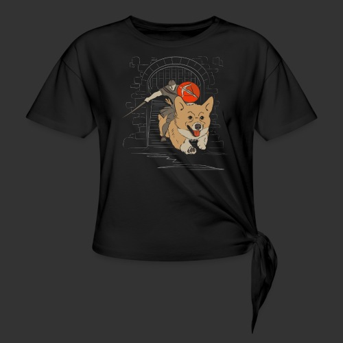 A Corgi Knight charges into battle - Women's Knotted T-Shirt