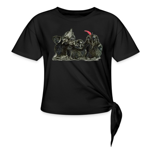 Three Young Crows - Women's Knotted T-Shirt