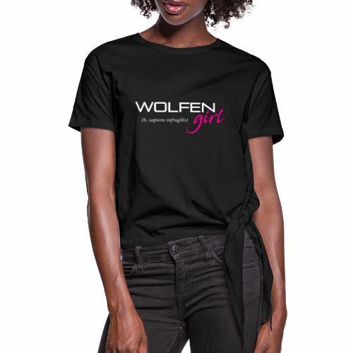 Wolfen Girl on Dark - Women's Knotted T-Shirt