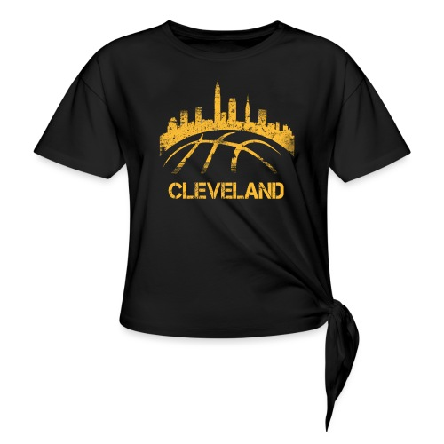 Cleveland Basketball Skyline - Women's Knotted T-Shirt