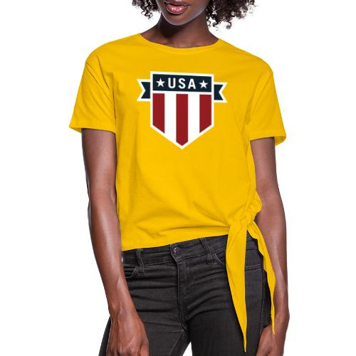 USA Pride Red White and Blue Patriotic Shield - Women's Knotted T-Shirt
