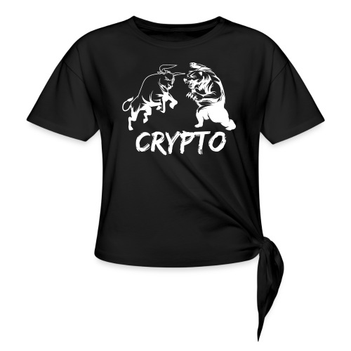 CryptoBattle White - Women's Knotted T-Shirt