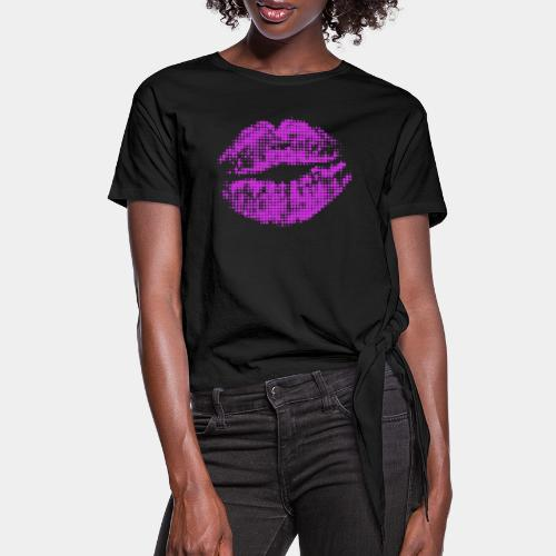 kiss mouth halftone pop - Women's Knotted T-Shirt