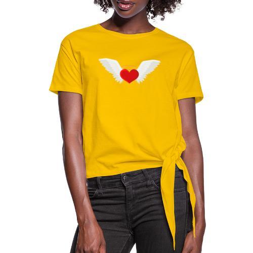 Winged heart - Angel wings - Guardian Angel - Women's Knotted T-Shirt