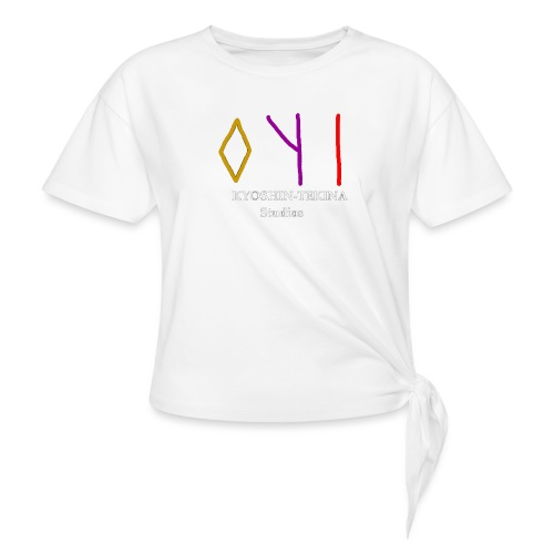 Kyoshin-Tekina Studios logo (white text) - Women's Knotted T-Shirt