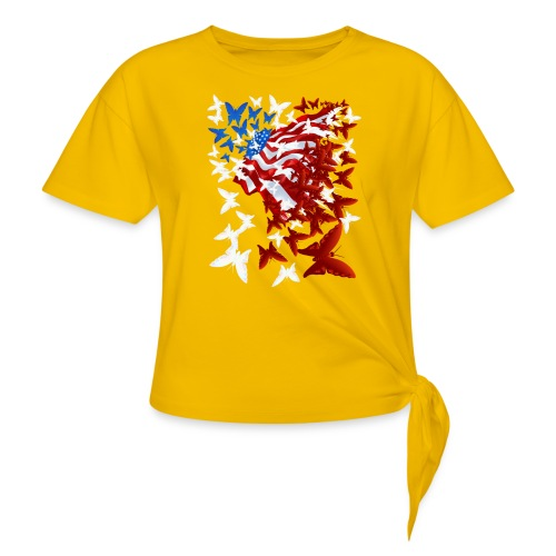 The Butterfly Flag - Women's Knotted T-Shirt