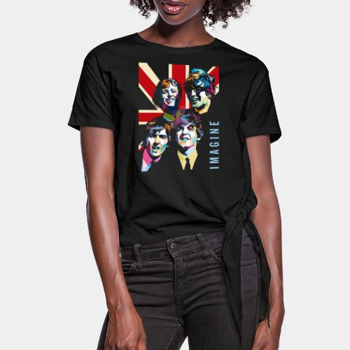 pop art imagine music - Women's Knotted T-Shirt