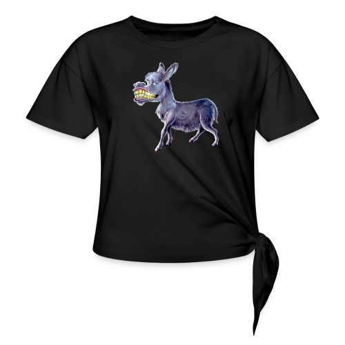 Funny Keep Smiling Donkey - Women's Knotted T-Shirt