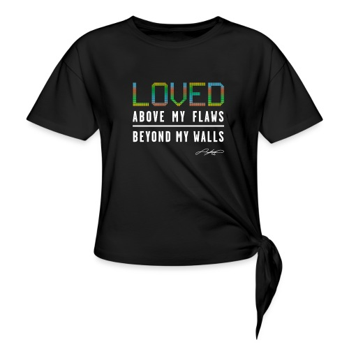 LOVED ! 2 (Colorful) - Women's Knotted T-Shirt