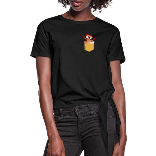 Pizza Lover pocket - Women's Knotted T-Shirt