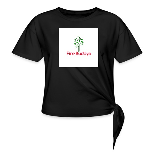 Fire Buddys Website Logo White Tee-shirt eco - Women's Knotted T-Shirt