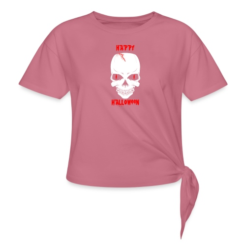 Halloween Skull - Women's Knotted T-Shirt