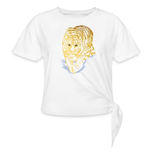 Golden Snow Tiger - Women's Knotted T-Shirt
