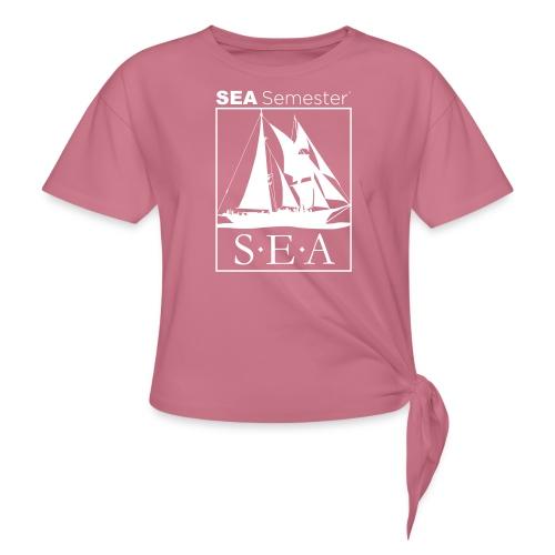 SEA_logo_WHITE_eps - Women's Knotted T-Shirt