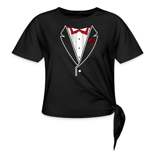 Tuxedo with Red bow tie - Women's Knotted T-Shirt
