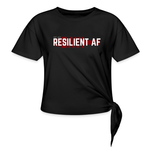 RESILIENT WHITE with red - Women's Knotted T-Shirt