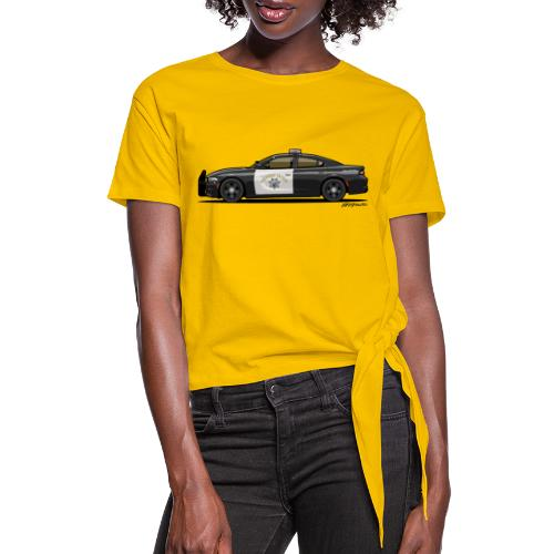 California Highway Patrol Charger Police Car - Women's Knotted T-Shirt