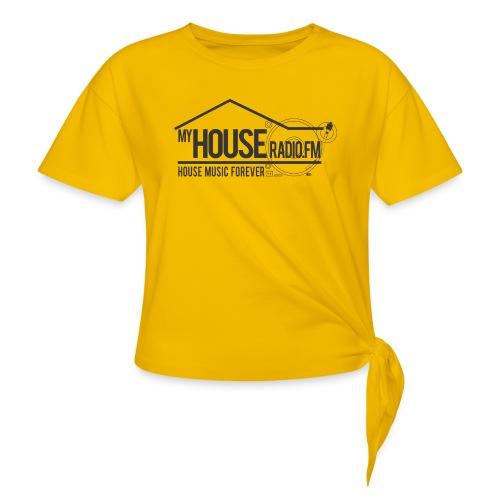 My House Radio Black Logo - Women's Knotted T-Shirt