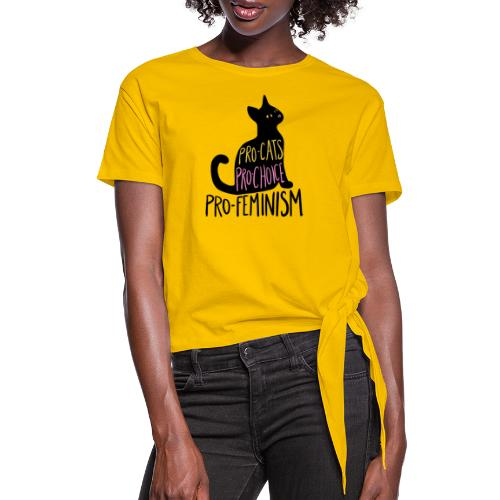 Pro-cats pro-choice pro-feminism - Women's Knotted T-Shirt
