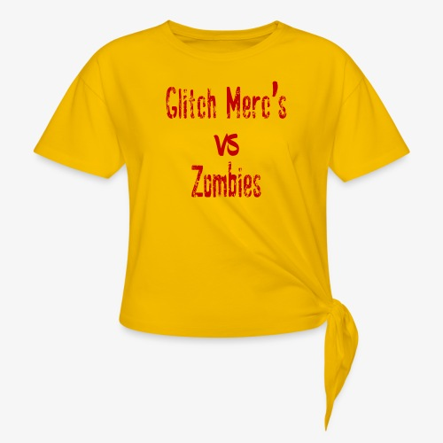 glitch zombie red - Women's Knotted T-Shirt