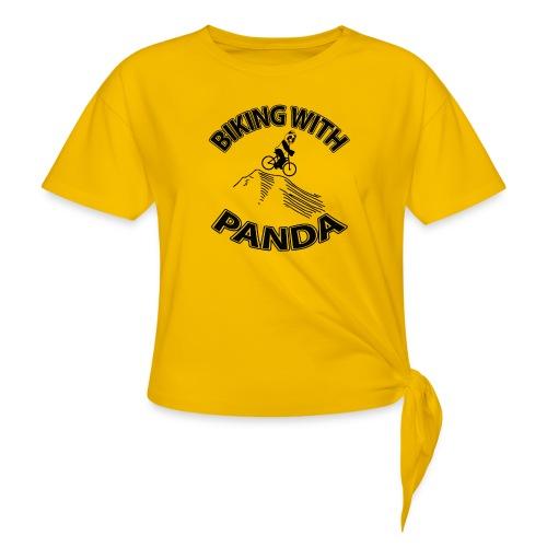 Biking with Panda - Women's Knotted T-Shirt