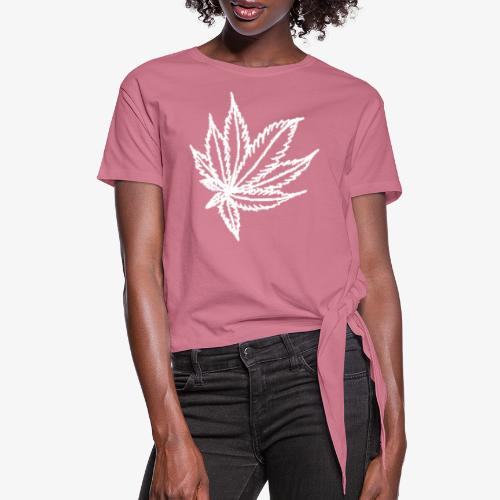 white leaf - Women's Knotted T-Shirt