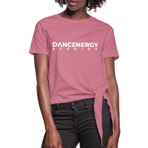 logo dancenergy 2019 white just text - Women's Knotted T-Shirt