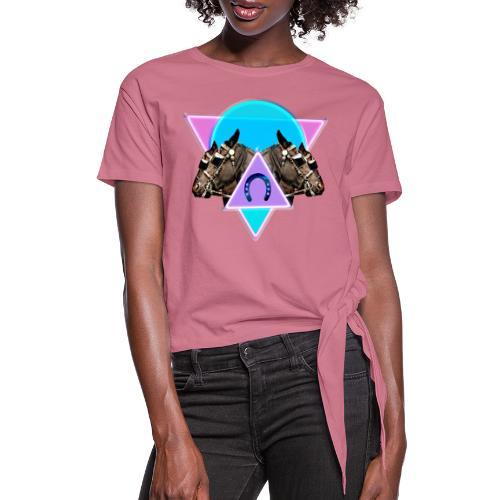 Neon Horses print - Women's Knotted T-Shirt