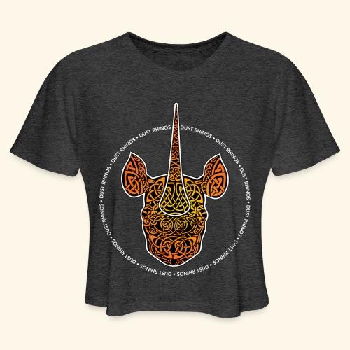 Dust Rhinos Orange Knotwork - Women's Cropped T-Shirt